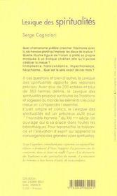 Lexique des spiritualites - 4ème de couverture - Format classique