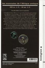 Les monnaies de l'Afrique antique ; 400 av. J.-C. - 40 ap.J.-C. - 4ème de couverture - Format classique
