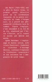 Leo Malet, Parcours D'Une Oeuvre - 4ème de couverture - Format classique