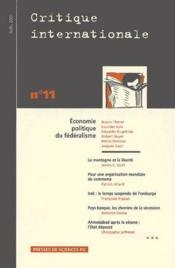 Économie politique du fédéralisme ; avril 2001 - Couverture - Format classique