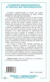L'Insertion Professionnelle Et Sociale Des Neo-Enseignants - 4ème de couverture - Format classique