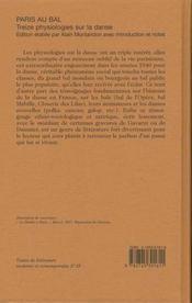 Paris Au Bal ; Treize Physiologies Sur La Danse - 4ème de couverture - Format classique