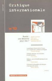 Revue Critique Internationale N.12 ; (Edition Juillet 2001) - Intérieur - Format classique