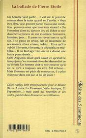 La Ballade De Pierre Etoile - 4ème de couverture - Format classique