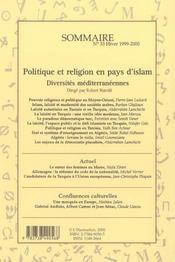 Politique et religion en pays d'Islam ; diversités méditerranéennes - 4ème de couverture - Format classique