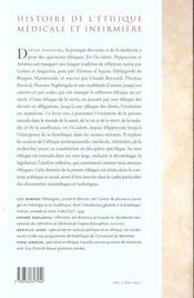Histoire de l'éthique médicale et infirmière - 4ème de couverture - Format classique