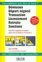 Demission ; Depart Negocie ; Transaction ; Licenciement ; 5e Edition - Intérieur - Format classique