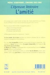 Epreuve litteraire 2002-2003 ; l'amitie ; prepas scientifiques - 4ème de couverture - Format classique