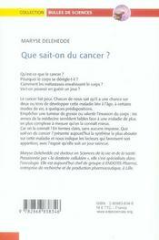 Que sait-on du cancer ? - 4ème de couverture - Format classique
