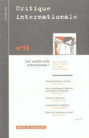 Critique international t.13 ; une societe civile international ? - Couverture - Format classique