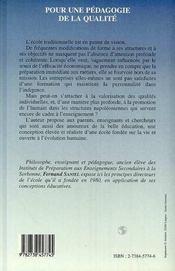 Pour Une Pedagogie De La Qualite : Une Education De La Vie - 4ème de couverture - Format classique