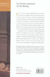 Les Lettres Romaines De Du Bellay - 4ème de couverture - Format classique