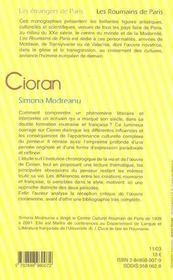 Cioran - 4ème de couverture - Format classique
