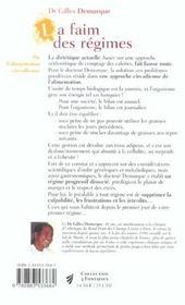 Faim des regimes (la) - 4ème de couverture - Format classique
