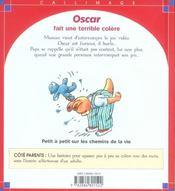 Oscar Fait Une Terrible Colere - 4ème de couverture - Format classique