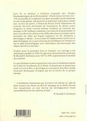Etudes Psychanalytiques De La Personnalite - 4ème de couverture - Format classique