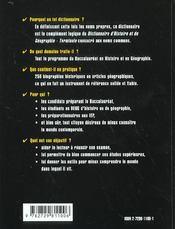 Dictionnaire D'Histoire Et Geographie Les Noms Propres Les Hommes Et Les Lieux Au Programme Du Bac - 4ème de couverture - Format classique