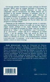 Pouvoir Shi'Ite, Theorie Et Evolution - 4ème de couverture - Format classique