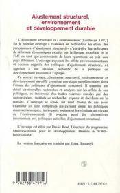 Ajustement structurel, environnement et développement durable - 4ème de couverture - Format classique