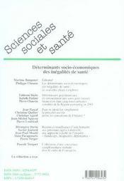 Revue Sciences Sociales Et Sante N.24-3 ; Déterminants Socio-Economiques Des Inégalités De Santé - 4ème de couverture - Format classique