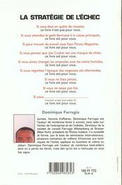 La stratégie de l'échec. aucun exemplaire vendu dans le monde, si vous ne savez pas lire, ce livre est pour vous - 4ème de couverture - Format classique