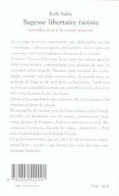 Sagesse libertaire taoïste ; introduction à la sainte paresse - 4ème de couverture - Format classique