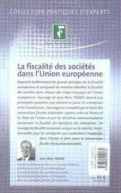 La fiscalité des sociétés dans l'union européenne - 4ème de couverture - Format classique