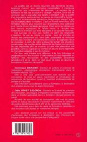 Ingenierie Et Qualite Dans Les Formations D'Insertion ; Un Outil D'Integration Au Service Des Demandeurs D'Emploi - 4ème de couverture - Format classique