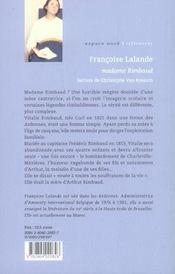 Madame rimbaud ancienne edition - 4ème de couverture - Format classique