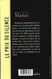 Sacrifice Corse - 4ème de couverture - Format classique