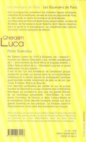 Gherasim Luca - 4ème de couverture - Format classique