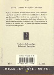Lettre A Un Jeune Artiste - 4ème de couverture - Format classique