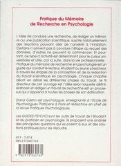 Pratique Du Memoire De Recherche En Psychologie - 4ème de couverture - Format classique