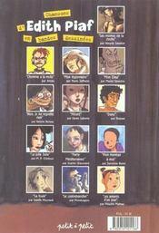 Les chansons d'édith piaf en bandes dessinées - 4ème de couverture - Format classique