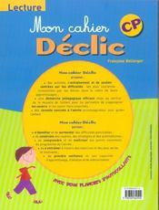 Mon Cahier Declic Lecture Cp - 4ème de couverture - Format classique