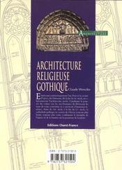 Architecture Religieuse Gothique - 4ème de couverture - Format classique