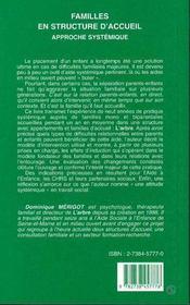 Familles En Structure D'Accueil ; Approche Systemique - 4ème de couverture - Format classique