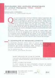 Anthologie Des Auteurs Dramatiques De Langue Francaise De 1950 A 2000 Vol 1 - 4ème de couverture - Format classique