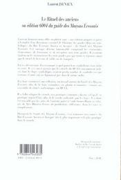 Le Rituel Des Anciens Ou Edition 6004 Du Guide Des Macons Ecossais - 4ème de couverture - Format classique