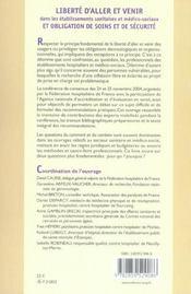 Liberte D'Aller Et Venir Dans Les Etablissements Sanitaires Et Medico-Sociaux Et - 4ème de couverture - Format classique