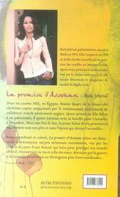 La Promise D'Assouan - 4ème de couverture - Format classique