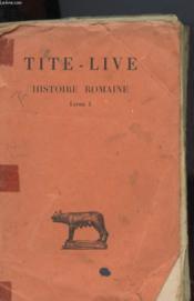 Tite-Live Histoire Romaine Tome I Livre 1 - Couverture - Format classique