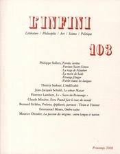 Vente  REVUE L'INFINI N.103 ; l'infini t.103  - Collectif Gallimard - Collectifs Gallimard