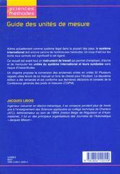 Guide Des Unites De Mesure - 4ème de couverture - Format classique