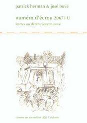 Numero D'Ecrou 20671 U ; Lettres Au Detenu Joseph Bove - Intérieur - Format classique