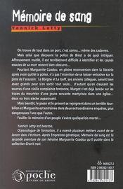 Mémoire de sang - 4ème de couverture - Format classique