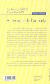 A L'Ecoute De L'Au-Dela - 4ème de couverture - Format classique