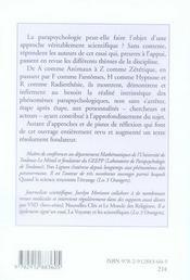 Parapsychologie le dossier - 4ème de couverture - Format classique