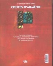 Contes d'Arménie ; au pays de la reine anahit - 4ème de couverture - Format classique