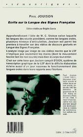 Ecrits Sur La Langue Des Signes Francaise - 4ème de couverture - Format classique